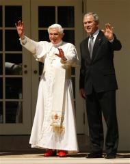 Pope Benedict XVI celebrates with Pres. Bush at the White House